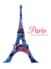 Vector Floral Eifel Tower Paris On St Valentines Day Of Love. Perfect for travel themed postcards, greeting cards, wedding invitations.