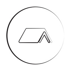 Black ink style Roof icon with circle