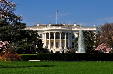 Washington, DC - Apri;l 10, 2014:  The south front of the White House with its formal gardens and fountain  *