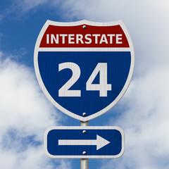 USA Interstate 24 highway sign