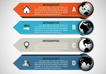 Small Globe and Arrow Tab Infographic