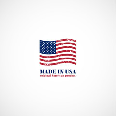 Grunge made in USA stamp with flag