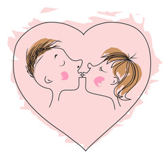 The love kiss and heart for Valentine's Day or wedding