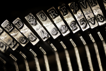 Vintage Old Typewriter Keys and Characters