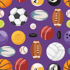 Sports seamless pattern vector illustration.