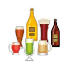 Beer glass vector set.