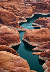 The red canyons around Lake Powell in Colorado, North America.