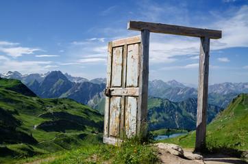 A door on a mountain.