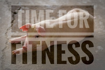 Time for fitness words on young pic background