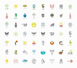 Set of signs and symbols - nature, animals, people, drink.