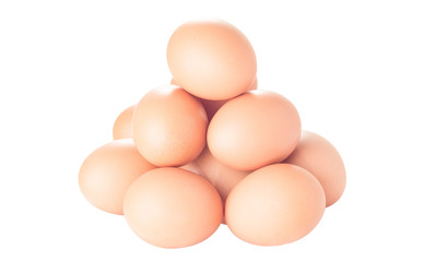 dozen brown chicken eggs isolated on white background