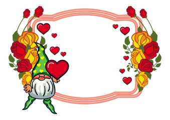 Oval label with roses and cute gnome holding heart. Vector clip art.