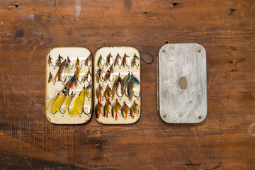 Old fashioned salmon flies and boxes