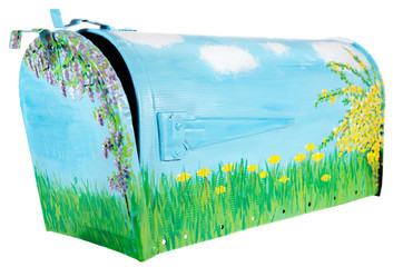 Hand painted mailbox, slightly open with the flag down