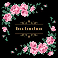 Floral romantic invitation