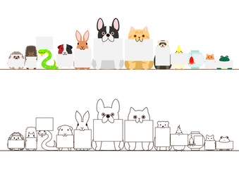 pet animals with blank cards border set