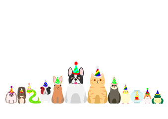 pet animals with party hat border set