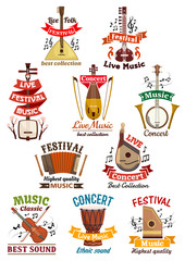Musical instruments icons and emblems