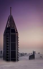 A skyscraper at sunset in Dubai, United Arab Emirates.