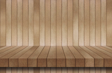 empty top wood shelves or table on wall background for put product
