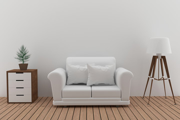 ouble white sofa in white room with lamp and tree in 3D render image