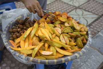Chopped fruits selling on Hanoi street