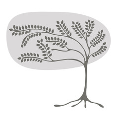 Vector hand drawn illustration, grey decorative ornamental stylized tree. graphic illustration isolated on the white background. Hand drawing silhouette. Decorative artistic abstract branch
