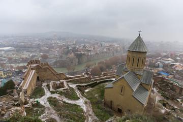 Christian church in Narikala Castle. Tbilisi, Georgia