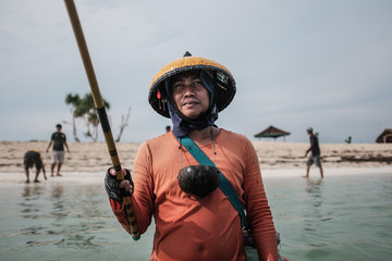 A fisherman in Bali, Indonesia.