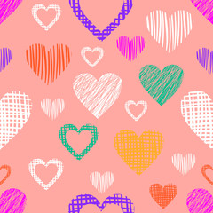 Seamless vector pattern with hearts. Pink endless symmetrical background with hand drawn textured figures. Graphic illustration Template for wrapping, web backgrounds, wallpaper