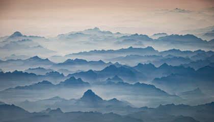 The Pyrenees in the early morning, shrouded in fog, Europe.