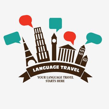 "Diversity  famous monuments with speech bubbles. Inscription ""Your language travel starts here"""