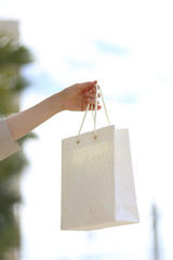 hand holding a blank white shopping bag