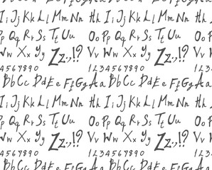 Hand drawn doodle letters and decorative elements seamless pattern. Black and white background...