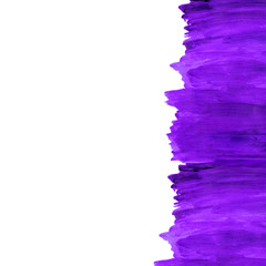 Abstract watercolor frame. purple paint color. Divorces, splash, stroke of the brush. For registration and design. Made in hand-graph