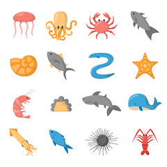 Vector cartoon sea underwater creatures icons