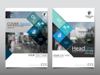 Blue square flyer cover business brochure vector design, Leaflet advertising abstract background, Modern poster magazine layout template, Annual report for presentation.