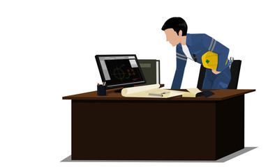 An Engineer is checking drawing on transparent background