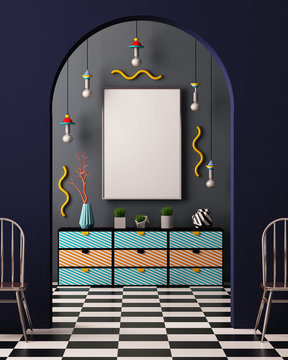 Mock up poster in the interior in the style of Memphis. 3d illustration. 3d render