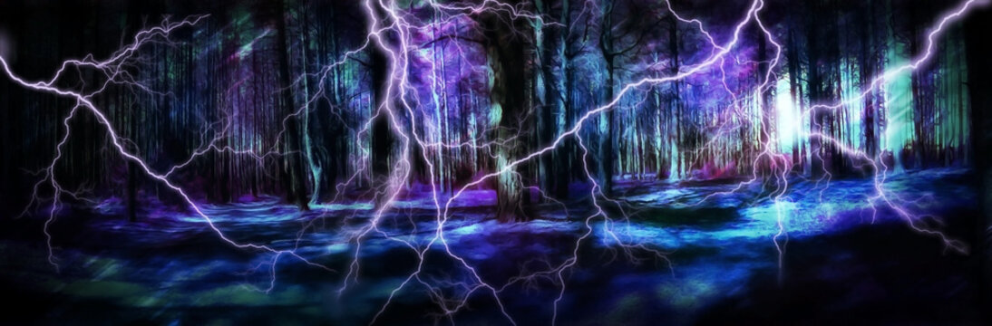 fantasy illustration magic forest in the storm.