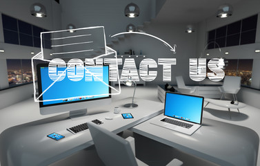 Contact us concept in office 3D rendering
