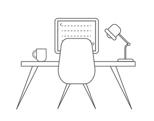 Workplace of programmer line vector. Creative office illustration.