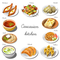 Caucasian cuisine set. Collection of food dishes