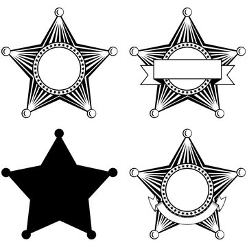 five pointed sheriffs star set