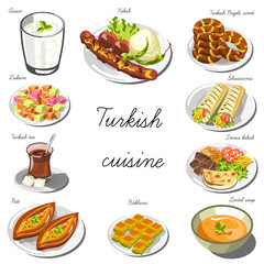Turkish asia cuisine set. Collection of food dishes