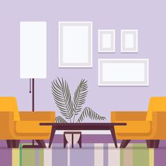 Retro interior with frames for copy space