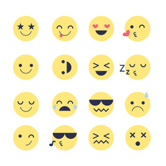 Set Emoji icons for applications and chat. Emoticons with different emotions isolated on white background.
