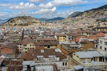 Downtown of Quito seen from the church of Basilica del Voto Nacional, Ecuador