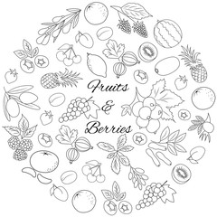 Hand drawn outline round set with berries and fruits isolated.