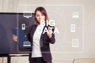 Business button big data computer network